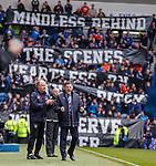 22.04.2018 Rangers v Hearts: Graeme Murty celebrates as Rangers score