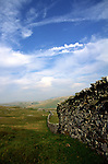 Large dry stone wall, limestone scenery, Norber, Yorkshire Dales national park, England