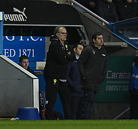Leeds United manager Marcelo Bielsa (left) Assistant Head Coachs Pablo Quiroga (right) <br /> <br /> <br /> Photographer David Horton/CameraSport<br /> <br /> The EFL Sky Bet Championship - Reading v Leeds United - Tuesday 12th March 2019 - Madejski Stadium - Reading<br /> <br /> World Copyright &copy; 2019 CameraSport. All rights reserved. 43 Linden Ave. Countesthorpe. Leicester. England. LE8 5PG - Tel: +44 (0) 116 277 4147 - admin@camerasport.com - www.camerasport.com