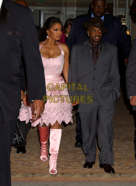 JANET JACKSON & JERMAINE DUPRI.2005 Clive Davis Annual Grammy Party Cocktail Reception held at the Beverly Hills Hotel, Beverly Hills, California, USA,.12th February 2005..full length pink halterneck dress knee high satin boots.Ref: ADM.www.capitalpictures.com.sales@capitalpictures.com.©LFarr/AdMedia/Capital Pictures .