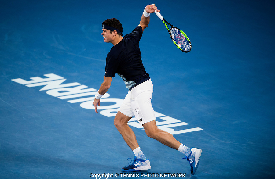 MILOS RAONIC (CAN)<br /> <br /> TENNIS , AUSTRALIAN OPEN,  MELBOURNE PARK, MELBOURNE, VICTORIA, AUSTRALIA, GRAND SLAM, HARD COURT, OUTDOOR, ITF, ATP, WTA<br /> <br /> &copy; TENNIS PHOTO NETWORK