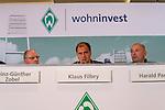 14.06.2019, Wohninvest Weserstadion, Bremen, GER, 1.FBL, Werder Bremen Partnerschaft mit Wohninvest, <br /> <br /> Werder Bremen hat die Namensrecht für 10 Jahre an die Wohninvest in Stuttgart verkauft. Das Stadiuon wird künftig wohninvest Weserstadion heißen<br /> im Bild<br /> <br /> Heinz-Günther / Guenther Zobel (BWS Geschaeftsfuehrer)<br /> <br /> Klaus Filbry (Vorsitzender der Geschäftsführung / Kaufmännischer Geschäftsführer SV Werder Bremen)<br /> Harald Panzer ( Chief Exceutive Officer)<br /> <br /> Foto © nordphoto / Kokenge