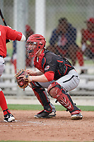 Catcher Victor Cerny (4) of the Canada Junior National Team during an exhibition game against a Boston Red Sox minor league team on March 31, 2017 at JetBlue Park in Fort Myers, Florida.  (Mike Janes/Four Seam Images)