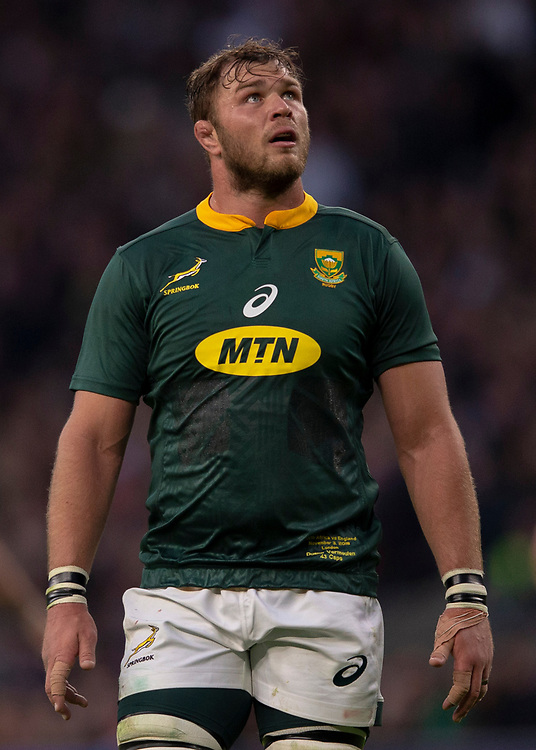 South Africa's Duane Vermeulen<br /> <br /> Photographer Bob Bradford/CameraSport<br /> <br /> Quilter Internationals - England v South Africa - Saturday 3rd November 2018 - Twickenham Stadium - London<br /> <br /> World Copyright © 2018 CameraSport. All rights reserved. 43 Linden Ave. Countesthorpe. Leicester. England. LE8 5PG - Tel: +44 (0) 116 277 4147 - admin@camerasport.com - www.camerasport.com