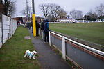 A dog amongst the crowd during the first-half as Atherton Collieries played Boston United in the FA Trophy third qualifying round at the Skuna Stadium. The home club were formed in 1916 and having secured three promotions in five season played in the Northern Premier League premier division. This was the furthest they had progressed in the FA Trophy and defeated their rivals from the National League North by 1-0, Mike Brewster scoring a late winner watched by a crowd of 303 spectators.