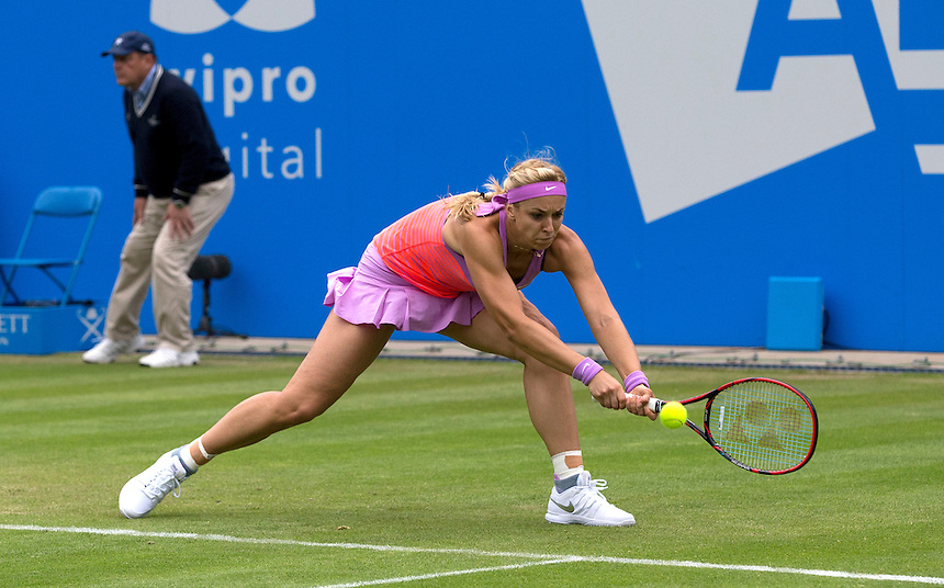 Sabine Lisicki (DEU) in action during her Women&rsquo;s Singles Second Round match today against Belinda Bencic (SUI)<br /> <br /> Photographer Stephen White/CameraSport<br /> <br /> Tennis - WTA International - Aegon  Classic - Day 3 - Wednesday 17th June 2015 - Edgbaston Priory Club - Birmingham<br /> <br /> &copy; CameraSport - 43 Linden Ave. Countesthorpe. Leicester. England. LE8 5PG - Tel: +44 (0) 116 277 4147 - admin@camerasport.com - www.camerasport.com
