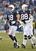 29 November 2014:  Penn State TEs Jesse James (18) and Mike Gesicki (88). The Michigan State Spartans defeated the Penn State Nittany Lions 34-10 at Beaver Stadium in State College, PA.