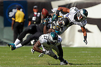 Malcolm Jenkins and Cary Williams during a game vs the Jacksonville Jaguars at Lincoln Financial Field on September 7, 2014 in Philadelphia, Pennsylvania. The Eagles won 34-17. (Photo by Hunter Martin/Philadelphia Eagles
