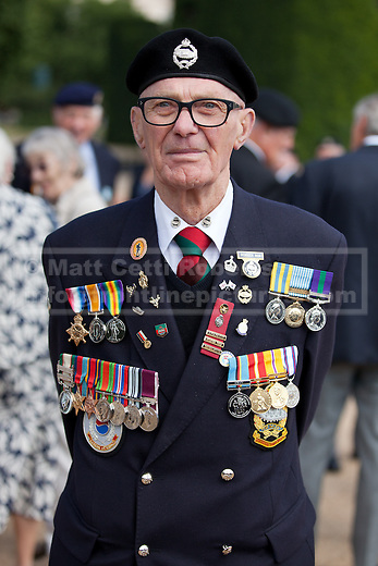 11/07/2013. London, UK. The chest of Korean War veteran Derrick Rex, which includes his father's World War 1 and 2 medals mounted on the left, as veterans of the conflict parade on Horse Guards Parade in London today (11/07/2013) before marching to Westminster Abbey. The parade and service held to commemorate the 60th Anniversary of the end of the Korean War, often known as the 'Forgotten War', which saw a United Nations force of many nations fight against North Korean and Chinese forces trying to invade South Korea. Photo credit: Matt Cetti-Roberts