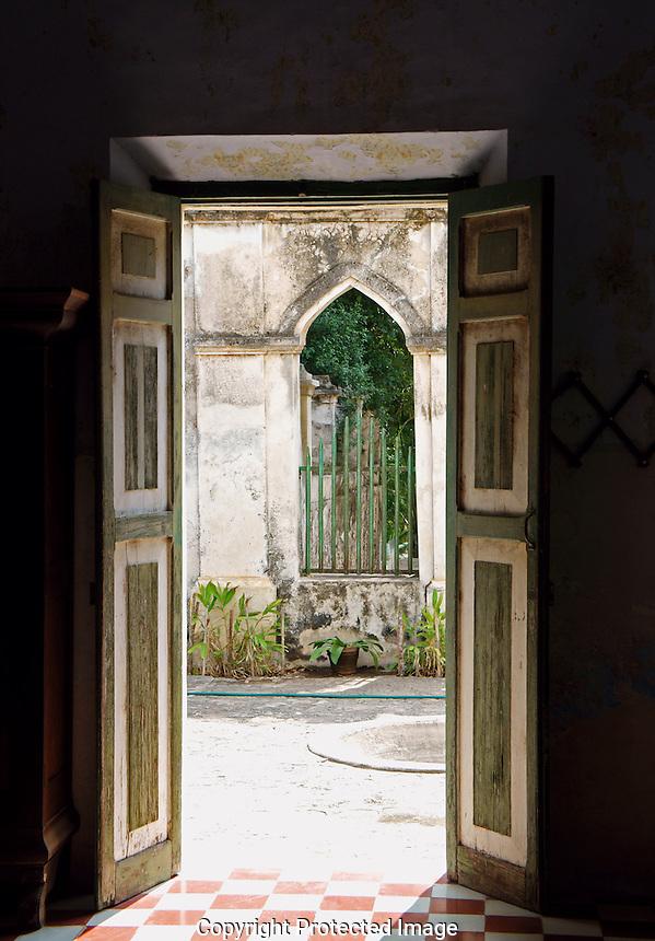 Open doors at Hacienda Yaxcopoil, Yucatan, Mexico                   .