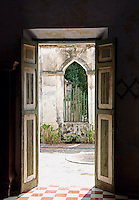 Open doors at Hacienda Yaxcopoil, Yucatan, Mexico                   .