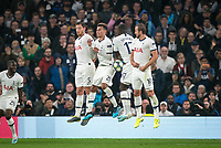 Spurs defend a free kick during the UEFA Champions League group match between Tottenham Hotspur and Bayern Munich at Wembley Stadium, London, England on 1 October 2019. Photo by Andy Rowland.