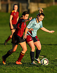 Action during the 1st XI Girls Football match between Kings College and Botany Downs College, Botany Downs, Auckland, New Zealand. Wednesday 7 June 2017. Photo: Simon Watts/www.bwmedia.co.nz for Kings College