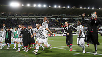 Calcio, Serie A: Fiorentina vs Juventus. Firenze, stadio Artemio Franchi, 24 aprile 2016.<br /> Juventus&rsquo; players celebrate at the end of the Italian Serie A football match between Fiorentina and Juventus at Florence's Artemio Franchi stadium, 24 April 2016. Juventus won 2-1.<br /> UPDATE IMAGES PRESS/Isabella Bonotto