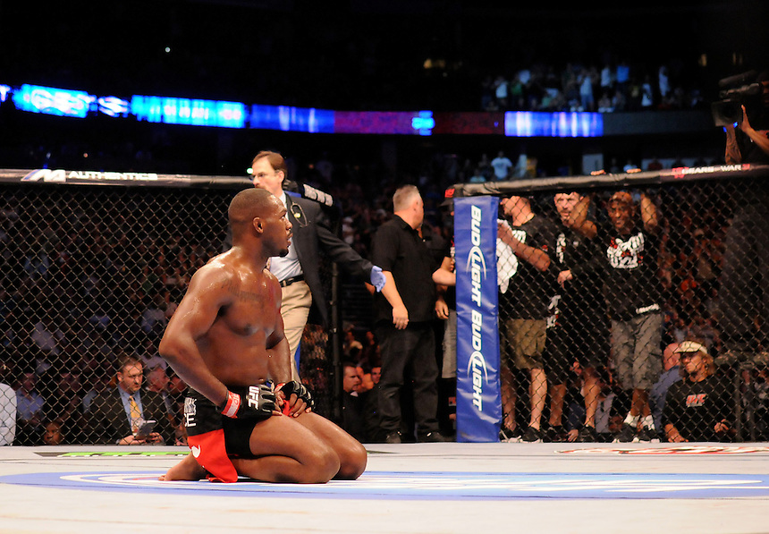 """24 SEPTEMBER 2011:  Jon """"Bones"""" Jones can't believe he just beat Quinton """"Rampage"""" Jackson   during UFC 135 at the Pepsi Center in Denver, Colorado. *****For Editorial Use Only*****"""