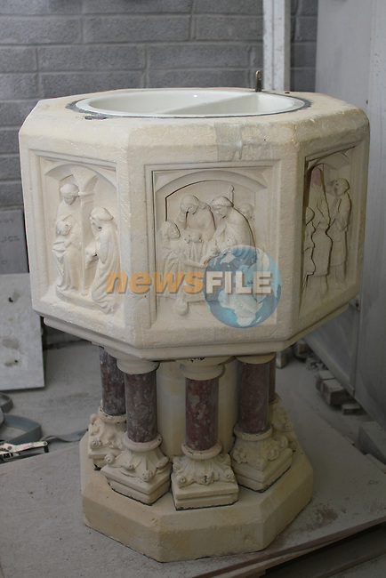 Baptismal Font which has been cleaned up at Caffreys Monumental Works and will now be placed in St.Marys Church...Picture Jenny Matthews/Newsfile.ie