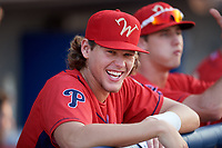 Williamsport Crosscutters Alec Bohm (5) in the dugout during a game against the Mahoning Valley Scrappers on August 28, 2018 at BB&T Ballpark in Williamsport, Pennsylvania.  Williamsport defeated Mahoning Valley 8-0.  (Mike Janes/Four Seam Images)