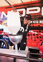 Feb 24, 2019; Chandler, AZ, USA; NHRA top fuel driver Leah Pritchett during the Arizona Nationals at Wild Horse Pass Motorsports Park. Mandatory Credit: Mark J. Rebilas-USA TODAY Sports