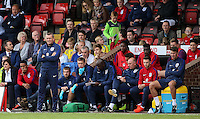 England Manager Aidy Boothroyd looks on with his bench during the International match between England U20 and Brazil U20 at the Aggborough Stadium, Kidderminster, England on 4 September 2016. Photo by Andy Rowland / PRiME Media Images.