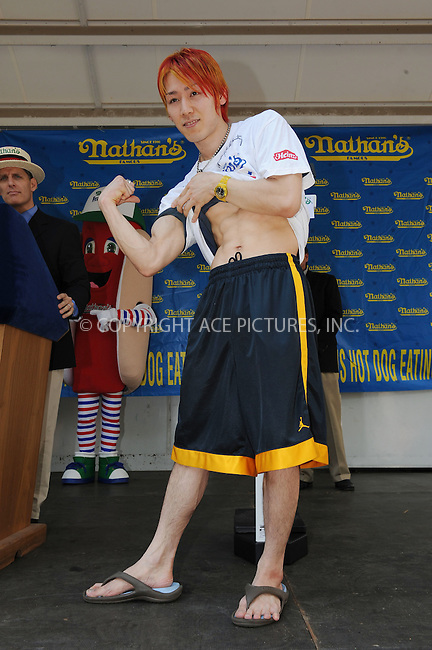 WWW.ACEPIXS.COM . . . . . ....July 3 2008, New York City....Takeru Kobayashi of Japan at the weigh-in for the Nathan's Famous International Hot Dog Eating Contest on July 3, 2008 in New York. The contest will take place on July 4, 2008 at Coney Island in Brooklyn. ....Please byline: KRISTIN CALLAHAN - ACEPIXS.COM.. . . . . . ..Ace Pictures, Inc:  ..(646) 769 0430..e-mail: info@acepixs.com..web: http://www.acepixs.com