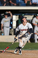 Hutton Moyer #2 of the Pepperdine Waves bats during a game against the Tulane Green Wave at Eddy D. Field Stadium on March 13, 2015 in Malibu, California. Tulane defeated Pepperdine, 9-3. (Larry Goren/Four Seam Images)
