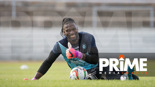 Goalkeeper Yves Ma-Kalambay of Wycombe Wanderers pre match during the 2018/19 Pre Season Friendly match between Chesham United and Wycombe Wanderers at the Meadow , Chesham, England on 24 July 2018. Photo by Andy Rowland.