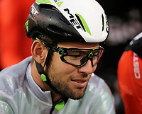 PICTURE BY MARK GREEN/SWPIX.COM ATP  Tour of Abu Dhabi - Yas Island Stage, UAE, 26/02/17<br /> Mark Cavendish in wet weather gear at the start. It rained from 1 in the afternoon until one hour before the end of the stage which was held completely under the lights at the Yas Marina Circuit with 26 laps.