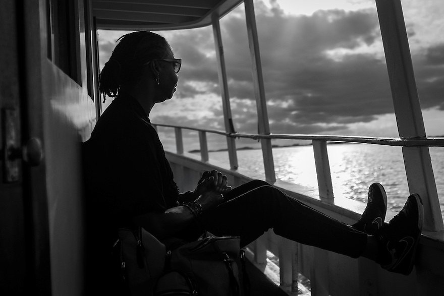 Yvonne Wilson, a fifth-generation Daufuskie Island native, rides the ferry to Daufuskie Island. There are no bridges connecting the 8 square mile island with mainland South Carolina. Daufuskie is home to two resorts, a private residential community as well as several dozen residents and a dwindling Gullah Geechee population.
