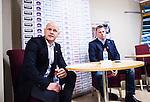 S&ouml;dert&auml;lje 2015-01-06 Ishockey Hockeyallsvenskan S&ouml;dert&auml;lje SK - Malm&ouml; Redhawks :  <br /> S&ouml;dert&auml;ljes tr&auml;nare Andreas Johansson och Malm&ouml; Redhawks tr&auml;nare headcoach Mats Lusth p&aring; presskonferensen efter matchen <br /> (Foto: Kenta J&ouml;nsson) Nyckelord:  portr&auml;tt portrait presskonferens