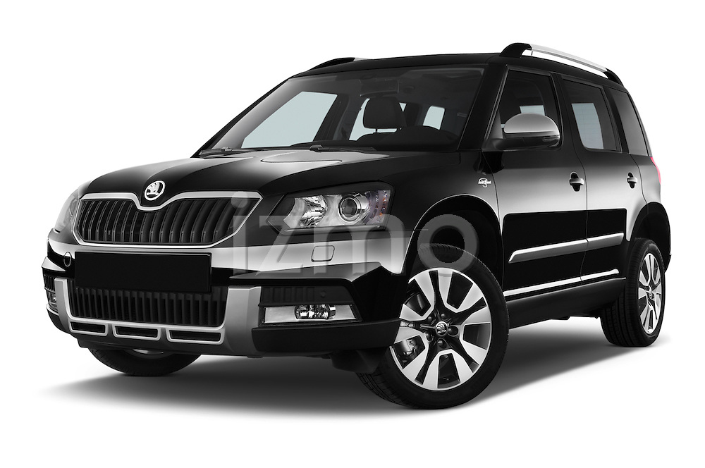 Stock pictures of low aggressive front three quarter view of a 2014 Skoda YETI LAURIN & KLEMENT OUTDOOR 5 Door SUV 4WD Low Aggressive