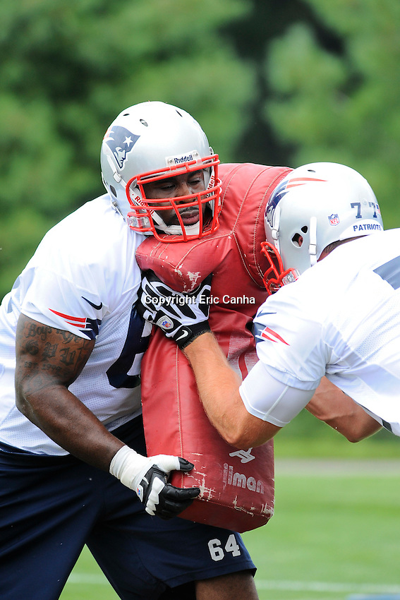 July 26, 2012 New England Patriots offensive guard Donald Thomas #64 and New England Patriots offensive tackle Nate Solder #77   at the opening day of the New England Patriots training camp held at Gillette Stadium, Foxborough, Massachusetts.  Eric Canha/CSM