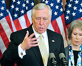United States House Majority Leader Steny Hoyer (Democrat of Maryland) makes a statement as he and other Democratic Leaders meet reporters to announce the savings to the federal budget by their health care reform effort in the U.S. Capitol in Washington, D.C. on Thursday, March 18, 2010..Credit: Ron Sachs / CNP