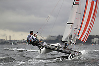 RIO DE JANEIRO, BRAZIL - AUGUST 10:  Bora Gulari of the United States and Louisa Chafee of the United States compete in the Nacra 17 Mixed class on Day 5 of the Rio 2016 Olympic Games at the Marina da Gloria on August 10, 2016 in Rio de Janeiro, Brazil.  (Photo by Clive Mason/Getty Images)