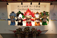 Tian'anmen Square (Place of Heavenly Peace). Olympic mascots on display. From left: Beibei (New Year), Jingjing, the panda, fiery Huanhuan, Yingying the Tibetan antelope and Nini the swallow.