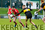 Liam Kearney, East Kerry in action against Mark O'Shea, Dr Crokes  during the Kerry County Senior Club Football Championship Final match between East Kerry and Dr. Crokes at Austin Stack Park in Tralee, Kerry.