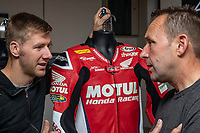 Racer Ian Hutchinson and ex-racer Steve Plater chat as RST Launches a new Airbag Project for Motorcycles in partnership with In&Motion during the TT (Tourist Trophy) on the Isle of Man where the new intelligent protection technology is being tested, at Conrod's Coffee Shop, Ramsey, Isle of Man on 1 June 2019. Photo by David Horn.