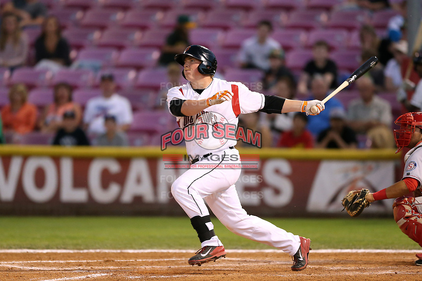 Skyler Ewing #44 of the Salem-Keizer Volcanoes bats against the Spokane Indians at Volcanoes Stadium on July 26, 2014 in Keizer, Oregon. Spokane defeated Salem-Keizer, 4-1. (Larry Goren/Four Seam Images)