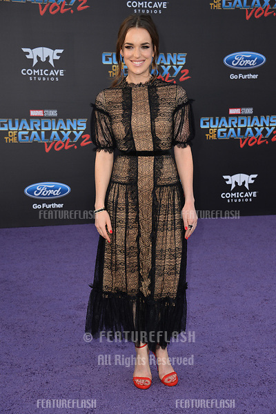 Elizabeth Henstridge at the world premiere for &quot;Guardians of the Galaxy Vol. 2&quot; at the Dolby Theatre, Hollywood. <br /> Los Angeles, USA 19 April  2017<br /> Picture: Paul Smith/Featureflash/SilverHub 0208 004 5359 sales@silverhubmedia.com