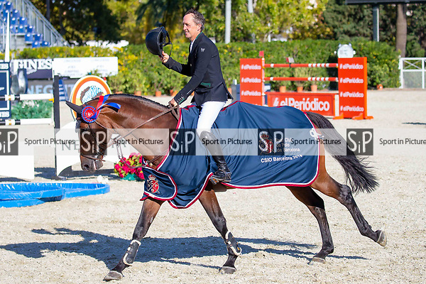 Winner. Shane Breen riding Can Ya Makan. IRL. Negrita Cup. Lap of Honour. Longines FEI Jumping Nations Cup Final. Showjumping. Barcelona. Spain. Day 1.05/10/2018. ~ MANDATORY Credit Elli Birch/Sportinpictures - NO UNAUTHORISED USE - 07837 394578