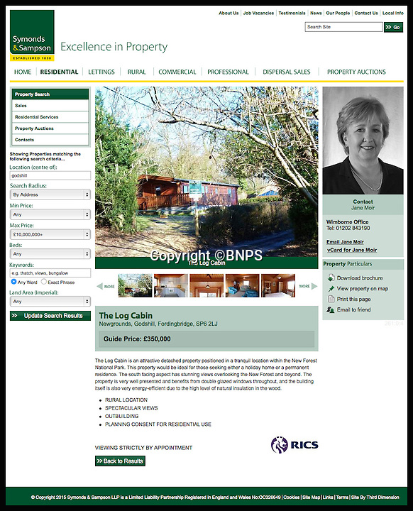 BNPS.co.uk (01202 558833)<br /> Pic: BNPS<br /> <br /> The Symonds and Sampson advert.<br /> <br /> A dream home...at a price - chance to buy your very own log cabin in a wood.