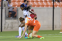 Houston, TX - Thursday Aug. 18, 2016: Cari Roccaro, Cheyna Williams during a regular season National Women's Soccer League (NWSL) match between the Houston Dash and the Washington Spirit at BBVA Compass Stadium.