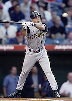 Jack Wilson of the Pittsburgh Pirates bats during a 2002 MLB season game against the Los Angeles Angels at Angel Stadium, in Anaheim, California. (Larry Goren/Four Seam Images)
