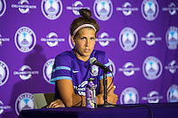 Orlando, Florida - Sunday, May 8, 2016: Orlando Pride forward Sarah Hagen (8) speaks to the media following a National Women's Soccer League match between Orlando Pride and Seattle Reign FC at Camping World Stadium. Sarah scored the first goal and the Pride won 2-0.