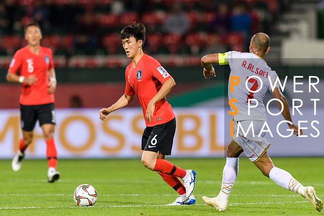 Hwang Inbeom of South Korea (C) in action during the AFC Asian Cup UAE 2019 Round of 16 match between South Korea (KOR) and Bahrain (BHR) at Rashid Stadium on 22 January 2019 in Dubai, United Arab Emirates. Photo by Marcio Rodrigo Machado / Power Sport Images