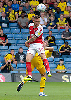Fleetwood Town's Gethin Jones heads clear<br /> <br /> Photographer David Shipman/CameraSport<br /> <br /> The EFL Sky Bet League One - Oxford United v Fleetwood Town - Saturday August 11th 2018 - Kassam Stadium - Oxford<br /> <br /> World Copyright &copy; 2018 CameraSport. All rights reserved. 43 Linden Ave. Countesthorpe. Leicester. England. LE8 5PG - Tel: +44 (0) 116 277 4147 - admin@camerasport.com - www.camerasport.com