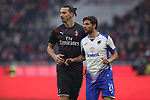 Zlatan Ibrahimovic of AC Milan and Bartosz Bereszynski of Sampdoria during the Serie A match at Giuseppe Meazza, Milan. Picture date: 6th January 2020. Picture credit should read: Jonathan Moscrop/Sportimage