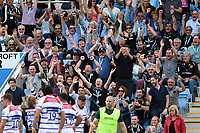 Exeter Chiefs fans in the crowd celebrate a try. Gallagher Premiership match, between Exeter Chiefs and Leicester Tigers on September 1, 2018 at Sandy Park in Exeter, England. Photo by: Patrick Khachfe / JMP