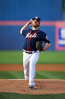 Binghamton Mets pitcher Matt Koch (20) delivers a pitch during a game against the Trenton Thunder on August 8, 2015 at NYSEG Stadium in Binghamton, New York.  Trenton defeated Binghamton 4-2.  (Mike Janes/Four Seam Images)