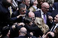 La gioia di Nicola Cosentino che viene festeggiato dagli altri deputati, dopo il risultato del voto.Roma 12/1/2012 Voto alla  Camera dei Deputati  sulla proposta della Giunta di concedere l'autorizzazione ad eseguire la misura cautelare della custodia in carcere nei confronti di un deputato PDL.Foto Insidefoto  Serena Cremaschi.............