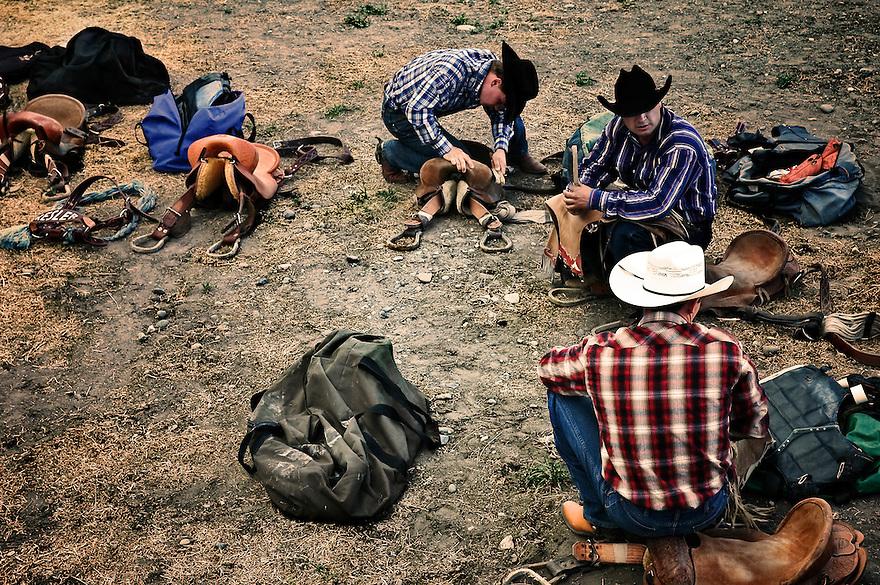 Cowboys prepare for the Livingston Roundup Rodeo in Livingston, Montana.